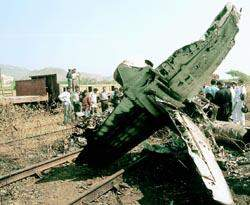 Wreck of HJT-16 Kiran that crashed at Visakhapatnam in December 1999.